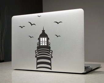Lighthouse Macbook Decal Sticker Laptop Vinyl Decals Stickers Apple Mac Pro Air Handmade Gifts Birds
