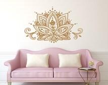 Lotus Flower Wall Decal Mandala Vinyl Sticker Decals Home Decor Boho Bohemian Bedroom Art Ornament Moroccan Pattern Namaste Yoga Studio x177