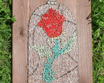 Beauty and the Beast The Enchanted Rose String Art Sign, Wall Art Decor