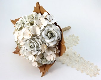 Old Handwritten Paper Bridal Bouquet with Ivory Cream Hydrangea and Lace