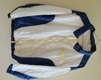 White Blue Yellow Windbreaker Jacket Vintage 90s Oversized XL
