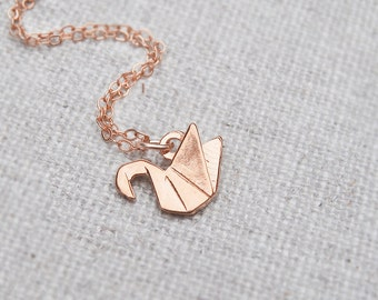 Origami swan necklace, rose gold filled chain, minimalist everyday jewelry, layering necklace, rose gold swan pendant, little bird necklace