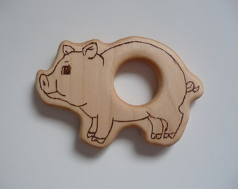Baby's All Natural Wooden Pig Teether