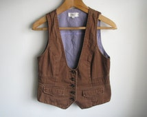 Brown women vest Casual retro cotton waistcoat Brown country outfit M S size US-8 EU-36 AUS-12 size Brown sleeveless jacket