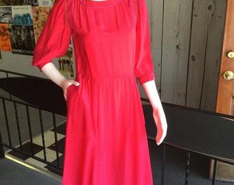 Vintage 80s 100% silk bright pink secretary dress with pockets