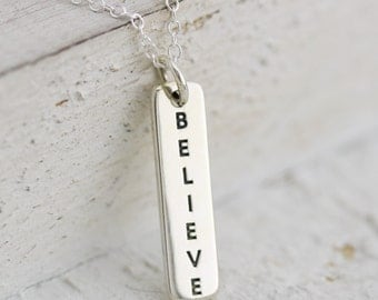 Believe Necklace - Sterling Silver Vertical Believe Tag Necklace - Believe Word Necklace Inspiration Necklace Faith Jewelry Vertical Believe