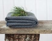 Grey baby blanket - Merino wool grey knit baby blanket - Kids blanket - Baby shower gift