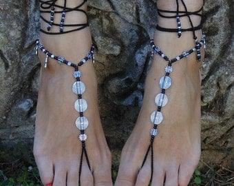 Crochet Barefoot Festival Beach Yoga Lace Anklet Foot Yewelry Hippie Spiral Sandals Toe Ring Anklet Bohemian Black Sandals Crochet Shoes