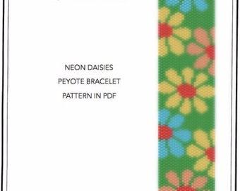 Pattern, peyote bracelet - Neon daisies peyote bracelet pattern in PDF - instant download