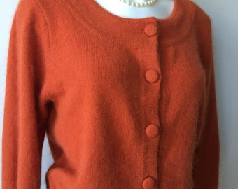 """Copper Angora sweater  russet cardigan scooped neck 80s vintage fuzzy Fall fashion knitwear  gift for her  loose knitwear chest 40"""""""