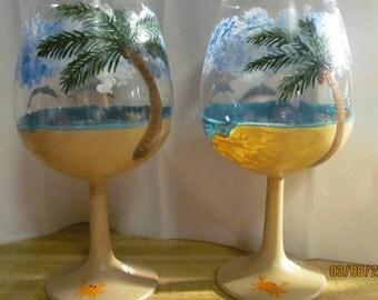 2 Hand Painted Wine Glasses Beach Scene