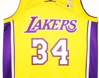 135ba2e02c2 ... 34 Stars Basketball Jersey Rock N Jock All Champion NBA basketball Los  Angeles Lakers Shaquille o Neal Jersey Jersey 36 XS ...