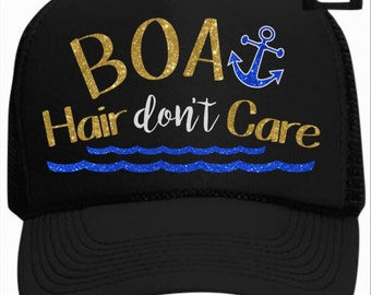 Boat Hair Don't Care with Anchor and Waves Trucker Hat
