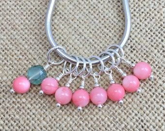 Stitch Markers, Snag Free, Knit Markers, Crochet Removable Stitch Markers, Pink Beaded Stitch Marker, Gifts for Knitter, Knitting Tools
