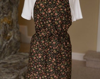 Apron Brown and Tan Floral Print on Black