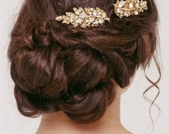 Bridal Hair Combs, Crystal leaf Comb, Wedding Hair Piece, Gold Bridal Comb, Silver Bridal Comb, Grecian Hair Piece, Greican Comb ATHENA