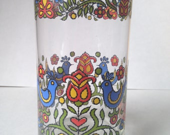 Large Dutch Hex Birds Glass (Possibly A Candle Holder)
