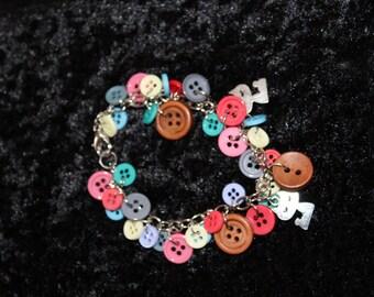Multi Colour Button and Charm Bracelet