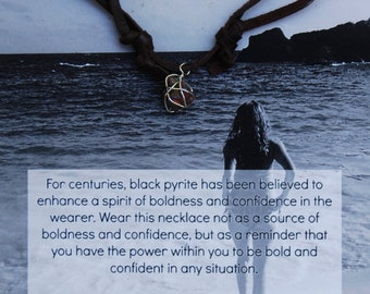 Black Pyrite Silver Wrapped Chocolate Deerskin Lace Necklace