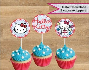 HELLO KITTY cupcake toppers, Hello kitty cupcake topper, Birthday cupcake topper, Printable Hello Kitty food topper, Instant download, party
