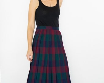 Vintage Pleated Plaid Wool Skirt - Sz. 12
