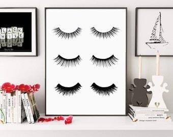 Eyelashes Print, Makeup Art Print, Bathroom Art, Fashion Print, Lashes Poster, Minimalist Eyelashes, Beauty Print, Eyelashes, Lashes