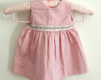 Baby Girl dress Baptism toddler dress Baptism Outfit Christening girls sleeveless dress Cotton summer dress French Vintage 6-9m