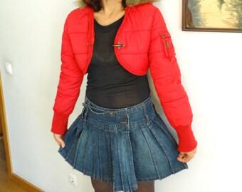 Pleated Denim Skirt short mini wrap around skirt skater skirt vintage 1990s Size M Medium US 10