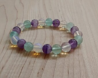 Opalite Glass, Amethyst, and Flourite Stretch Bracelet