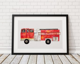 Fire Truck Print of Hand Painted Watercolor Art 8 x 11