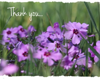 Purple Flowers Nature Photo Note Card w/Custom Greeting