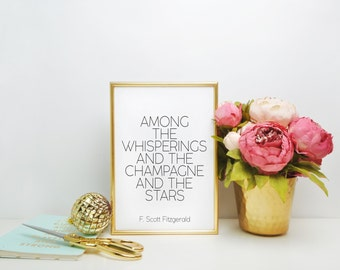The Great Gatsby party decoration. Roaring 20s decor. Black and gold party decor Great Gatsby champagne quote, F. Scott Fitzgerald Wall art
