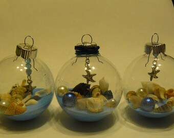 Christmas clear glass ball  with shells and sand , shell ornaments, beach decor