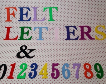 FELT LETTERS and NUMBERS , 2 inches high (5cm) Capital letters , 14 gorgeous colours , for decoration , applique , bunting scrapbooking