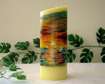 painted candle,Hand made