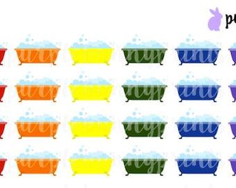 Rainbow Bathtub Icons // Planner Stickers!