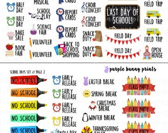 School Days Set // Planner Stickers