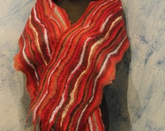 Nuno felted scarf red/yellow wavy