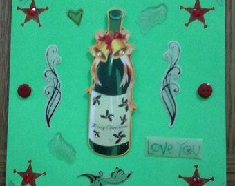Bottle Christmas Card