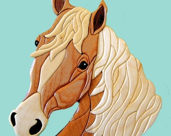 Handcrafted Palomino Horse, Intarsia Wood Art Wall Hanging, Western Home Décor, Unique Gift Idea for a Horseman or Woman
