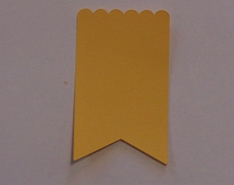 "GIFT TAGS blank 2"" 25 pcs. Yellow banner scalloped gift tags, die cut tags/gift tag/23sweets/wedding/party/hang tags/scrapbooking/paper"