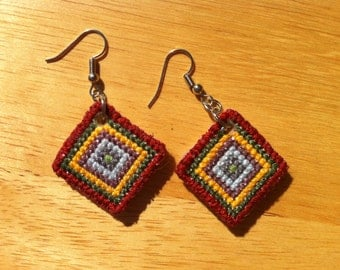 Earrings - Cross Stitched Square Colorful Pattern