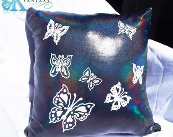 Dream Butterfly multicolored pillow cover. Butterfly pillow. Bedroom pillow. Living room pillow. Girl room.