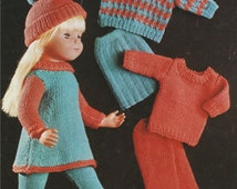 PDF Dolls Clothes Knitting Pattern : 16 , 18 & 20 Inch Dolly . DK Yarn . Instant Digital Download