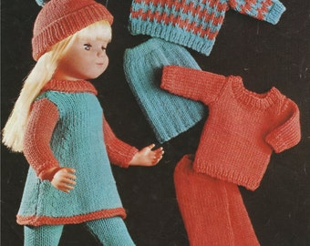 Dolls Clothes PDF Knitting Pattern : 16 , 18 and 20 Inch Dolly . DK Yarn . Doll Outfit Pattern . Instant Digital Download