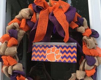 "20"" Clemson Tigers Burlap Wreath"