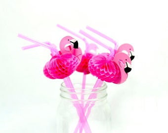 Flamingo Straws Set of 12/ Flamingo Bachelorette Party Decors/ Flamingo Honeycomb Straws/ Summer Pool Side Party Straws
