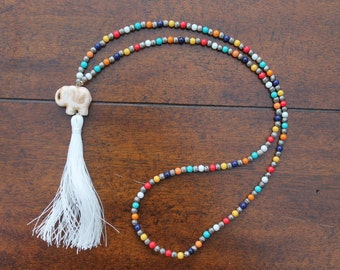 Elephant Tassel Necklace, Colorful Tassel Necklace, Glass beaded Necklace, Elephant Necklace, Boho Necklace, Bohemian Necklace