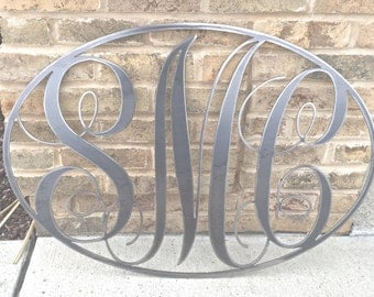 Custom Metal Monogram Sign. Initial Metal sign. Personalized Monogram Sign. Circle or Oval Monogram Sign. Monogrammed Gift.