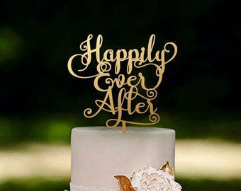 Wedding Cake Topper Happily Ever After Gold or Silver Metallic